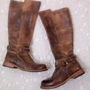Bed Stu 9.5 Brown Leather Tall Knee Boots Side Zip